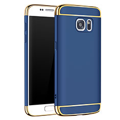 Luxury Metal Frame and Plastic Back Cover Case M01 for Samsung Galaxy S7 G930F G930FD Blue