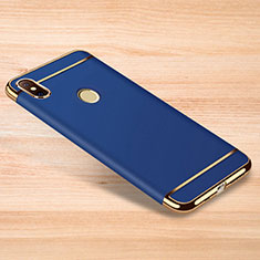 Luxury Metal Frame and Plastic Back Cover Case M01 for Xiaomi Redmi Note 6 Pro Blue