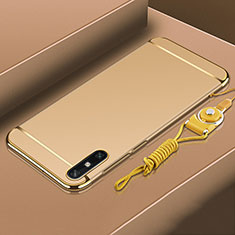 Luxury Metal Frame and Plastic Back Cover Case M03 for Huawei Enjoy 10e Gold