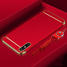 Luxury Metal Frame and Plastic Back Cover Case M03 for Huawei Enjoy 10e Red