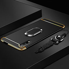 Luxury Metal Frame and Plastic Back Cover Case with Finger Ring Stand A01 for Huawei Honor 9X Black