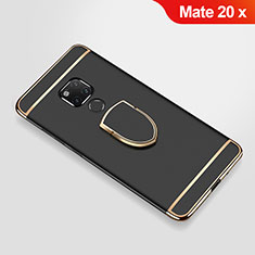 Luxury Metal Frame and Plastic Back Cover Case with Finger Ring Stand A01 for Huawei Mate 20 X Black
