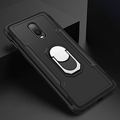 Luxury Metal Frame and Plastic Back Cover Case with Finger Ring Stand A01 for OnePlus 6T Black