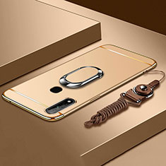 Luxury Metal Frame and Plastic Back Cover Case with Finger Ring Stand A01 for Oppo A31 Gold