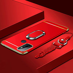 Luxury Metal Frame and Plastic Back Cover Case with Finger Ring Stand A01 for Oppo A53s Red