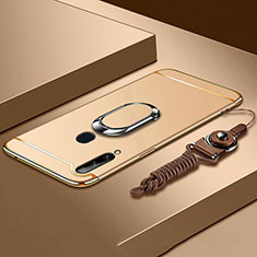 Luxury Metal Frame and Plastic Back Cover Case with Finger Ring Stand A01 for Samsung Galaxy A20s Gold