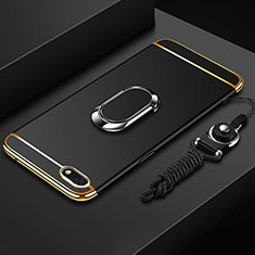 Luxury Metal Frame and Plastic Back Cover Case with Finger Ring Stand and Lanyard for Huawei Enjoy 8e Lite Black