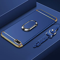 Luxury Metal Frame and Plastic Back Cover Case with Finger Ring Stand and Lanyard for Huawei Enjoy 8e Lite Blue