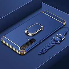 Luxury Metal Frame and Plastic Back Cover Case with Finger Ring Stand and Lanyard for Realme X50 5G Blue