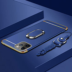 Luxury Metal Frame and Plastic Back Cover Case with Finger Ring Stand T01 for Apple iPhone 11 Pro Blue