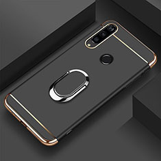 Luxury Metal Frame and Plastic Back Cover Case with Finger Ring Stand T01 for Huawei Honor 20E Black
