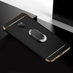 Luxury Metal Frame and Plastic Back Cover Case with Finger Ring Stand T01 for Huawei Mate 20 Black