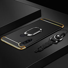 Luxury Metal Frame and Plastic Back Cover Case with Finger Ring Stand T01 for Xiaomi Redmi Note 8 Black