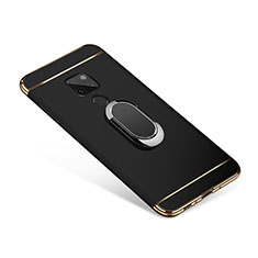 Luxury Metal Frame and Plastic Back Cover with Finger Ring Stand A01 for Huawei Mate 20 Black