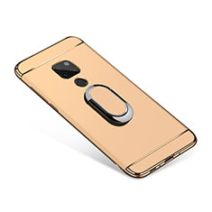 Luxury Metal Frame and Plastic Back Cover with Finger Ring Stand A01 for Huawei Mate 20 Gold