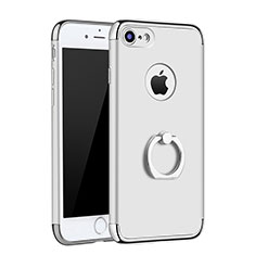 Luxury Metal Frame and Plastic Back Cover with Finger Ring Stand A02 for Apple iPhone SE (2020) Silver