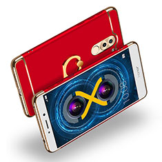 Luxury Metal Frame and Plastic Back Cover with Finger Ring Stand A02 for Huawei GR5 (2017) Red