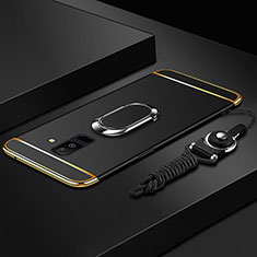 Luxury Metal Frame and Plastic Back Cover with Finger Ring Stand and Lanyard for Samsung Galaxy A9 Star Lite Black