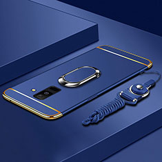 Luxury Metal Frame and Plastic Back Cover with Finger Ring Stand and Lanyard for Samsung Galaxy A9 Star Lite Blue