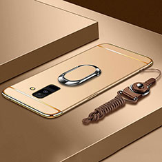 Luxury Metal Frame and Plastic Back Cover with Finger Ring Stand and Lanyard for Samsung Galaxy A9 Star Lite Gold