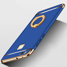 Luxury Metal Frame and Plastic Back Cover with Finger Ring Stand for Huawei G9 Lite Blue