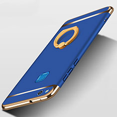 Luxury Metal Frame and Plastic Back Cover with Finger Ring Stand for Huawei GR3 (2017) Blue