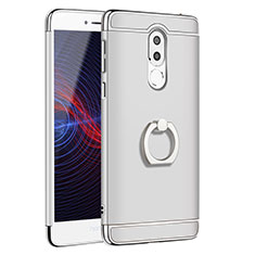 Luxury Metal Frame and Plastic Back Cover with Finger Ring Stand for Huawei GR5 (2017) Silver