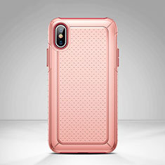Mesh Hole Silicone and Plastic Case Cover for Apple iPhone Xs Max Pink