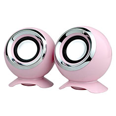 Mini Speaker Wired Portable Stereo Super Bass Loudspeaker W05 Pink