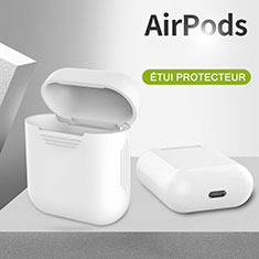 Protective Silicone Case Skin for Apple Airpods Charging Box with Keychain A03 for Apple AirPods White