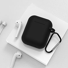 Protective Silicone Case Skin for Apple Airpods Charging Box with Keychain C02 for Apple AirPods Black