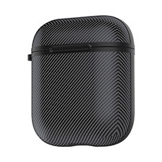 Protective Silicone Case Skin for Apple Airpods Charging Box with Keychain C09 for Apple AirPods Black