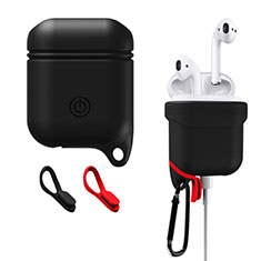 Protective Silicone Case Skin for Apple Airpods Charging Box with Keychain Z02 for Apple AirPods Black