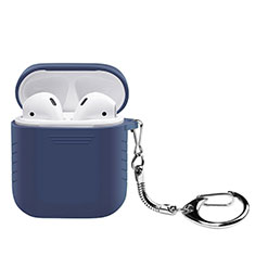 Protective Silicone Cover Skin for Apple Airpods Charging Box with Keychain Z04 for Apple AirPods Blue