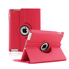 Rotating Stands Flip Leather Case for Apple iPad 2 Red