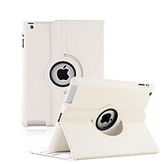 Rotating Stands Flip Leather Case for Apple iPad 4 White