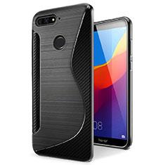 S-Line Transparent Gel Soft Case Cover for Huawei Enjoy 8e Black