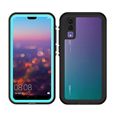 Silicone and Plastic Waterproof Cover Case 360 Degrees Underwater Shell for Huawei P20 Sky Blue