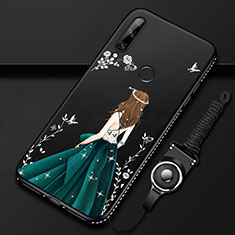 Silicone Candy Rubber Gel Dress Party Girl Soft Case Cover for Huawei Enjoy 10 Plus Green
