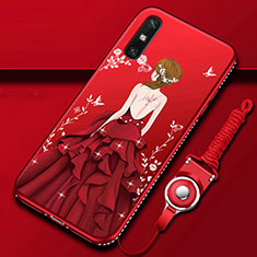 Silicone Candy Rubber Gel Dress Party Girl Soft Case Cover for Huawei Enjoy 10e Red