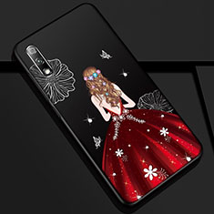 Silicone Candy Rubber Gel Dress Party Girl Soft Case Cover for Huawei Honor 9X Red and Black