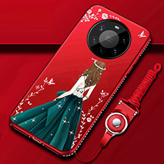 Silicone Candy Rubber Gel Dress Party Girl Soft Case Cover for Huawei Mate 40 Pro+ Plus Green