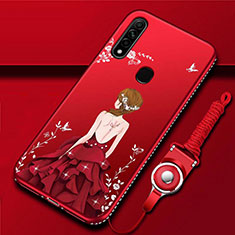 Silicone Candy Rubber Gel Dress Party Girl Soft Case Cover for Oppo A31 Red