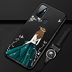 Silicone Candy Rubber Gel Dress Party Girl Soft Case Cover for Oppo A53s Black