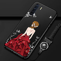 Silicone Candy Rubber Gel Dress Party Girl Soft Case Cover for Oppo A91 Red and Black
