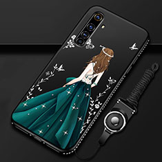 Silicone Candy Rubber Gel Dress Party Girl Soft Case Cover for Realme X50 Pro 5G Green