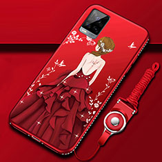 Silicone Candy Rubber Gel Dress Party Girl Soft Case Cover for Vivo V20 Pro 5G Red