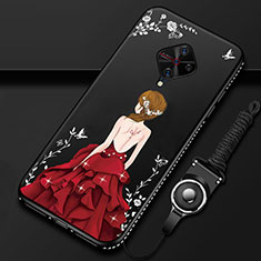 Silicone Candy Rubber Gel Dress Party Girl Soft Case Cover for Vivo X50 Lite Red and Black