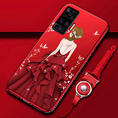 Silicone Candy Rubber Gel Dress Party Girl Soft Case Cover for Vivo X50 Pro 5G Red