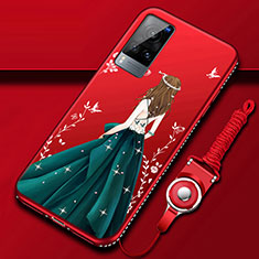 Silicone Candy Rubber Gel Dress Party Girl Soft Case Cover for Vivo X60 5G Green